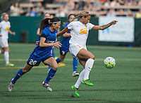 Seattle, WA - Saturday July 16, 2016: Rumi Utsugi, Lynn Williams during a regular season National Women's Soccer League (NWSL) match between the Seattle Reign FC and the Western New York Flash at Memorial Stadium.