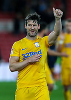 Preston North End's David Nugent applauds the fans after the match<br /> <br /> Photographer Alex Dodd/CameraSport<br /> <br /> The EFL Sky Bet Championship - Middlesbrough v Preston North End - Tuesday 1st October 2019  - Riverside Stadium - Middlesbrough<br /> <br /> World Copyright © 2019 CameraSport. All rights reserved. 43 Linden Ave. Countesthorpe. Leicester. England. LE8 5PG - Tel: +44 (0) 116 277 4147 - admin@camerasport.com - www.camerasport.com