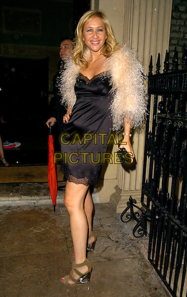 TANIA BRYER.The Tatler Summer Party, Home House, London, England..June 27th, 2007.full length black dress fur wrap coat jacket tanya beige shoes clutch purse lace trim .CAP/CAN.©Can Nguyen/Capital Pictures