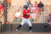 Bradley Strong (18) of the Kannapolis Intimidators at bat against the Hagerstown Suns at Kannapolis Intimidators Stadium on July 4, 2016 in Kannapolis, North Carolina.  The Intimidators defeated the Suns 8-2.  (Brian Westerholt/Four Seam Images)