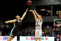 GRONINGEN - Basketbal, Donar - Den Helder Suns, Martiniplaza, Dutch Basketbal League,  seizoen 2018-2019, 27-11-2018,  Donar speler Jobi Wall scoort met driepunter