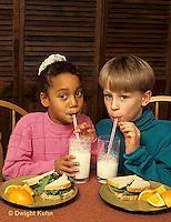 BH01-005z  Food - Children drinking milk, lunch