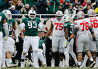 Michigan State Spartans defensive tackle Naquan Jones (93) reacts to a tackle during the first quarter of the NCAA football game against the Ohio State Buckeyes at Spartan Stadium in East Lansing, Mich. on Nov. 10, 2018. [Adam Cairns/Dispatch]