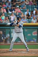 Scott Van Slyke (21) of the New Orleans Baby Cakes bats against the Salt Lake Bees at Smith's Ballpark on June 11, 2018 in Salt Lake City, Utah. New Orleans defeated Salt Lake 6-5.  (Stephen Smith/Four Seam Images)