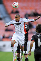 Washington, D.C.- March 29, 2014. Teal Bunbury (10) of the New England Revolution.  D.C. United defeated the New England Revolution 2-0 during a Major League Soccer Match for the 2014 season at RFK Stadium.