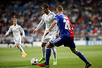 Cristiano Ronaldo of Real Madrid and Fabian Frei of FC Basel 1893 during the Champions League group B soccer match between Real Madrid and FC Basel 1893 at Santiago Bernabeu Stadium in Madrid, Spain. September 16, 2014. (ALTERPHOTOS/Caro Marin) /NortePhoto.com