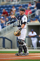 Pensacola Blue Wahoos catcher Chris Berset (14) during the second game of a double header against the Biloxi Shuckers on April 26, 2015 at Pensacola Bayfront Stadium in Pensacola, Florida.  Pensacola defeated Biloxi 2-1.  (Mike Janes/Four Seam Images)