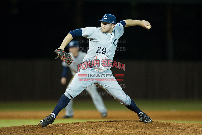Catawba Indians relief pitcher Heath Mitchem (29) in action against the Belmont Abbey Crusaders at Abbey Yard on February 7, 2017 in Belmont, North Carolina.  The Crusaders defeated the Indians 12-9.  (Brian Westerholt/Four Seam Images)