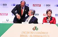 SAO PAULO, SP, 13 DE MAIO 2013 - ENCONTRO BILATERAL - BRASIL - ALEMANHA - O governador de São Paulo Geraldo Alckmin  durante cerimonia de abertura do encontro Econômico Brasil-Alemanha - EEBA 2013 no Hotel Sheraton WTC na região sul da capital paulista, nesta segunda-feira, 13. (FOTO: WILLIAM VOLCOV / BRAZIL PHOTO PRESS).