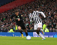 Esmael Goncalves takes on Adam Matthews in the St Mirren v Celtic Scottish Communities League Cup Semi Final match played at Hampden Park, Glasgow on 27.1.13.