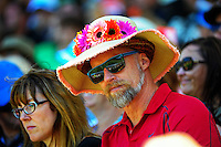 A fan with a flowery hat during the ICC Cricket World Cup one day pool match between the New Zealand Black Caps and England at Wellington Regional Stadium, Wellington, New Zealand on Friday, 20 February 2015. Photo: Dave Lintott / lintottphoto.co.nz