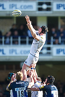 Kearnan Myall of Sale Sharks secures the lineout during the Aviva Premiership match between Bath Rugby and Sale Sharks at the Recreation Ground on Saturday 29th September 2012 (Photo by Rob Munro)