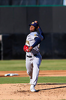 Burlington Bees pitcher Jose Soriano (23) delivers a pitch during a Midwest League game against the Wisconsin Timber Rattlers on April 26, 2019 at Fox Cities Stadium in Appleton, Wisconsin. Wisconsin defeated Burlington 2-0. (Brad Krause/Four Seam Images)