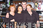 CELEBRATING: Bar staff helping to celebrate Fabrics 3rd Anniversary on Friday night. Pictured are Lucia Filipkova,  Kamila Rosikon and Iwona Tumiel, Tralee, and Dave OSullivan, Ardfert..