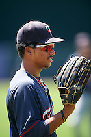 GCL Twins left fielder Jean Carlos Arias (1) during warmups before a game against the GCL Orioles on August 11, 2016 at the Ed Smith Stadium in Sarasota, Florida.  GCL Twins defeated GCL Orioles 4-3.  (Mike Janes/Four Seam Images)