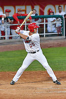 John Schuknecht (25) of the Orem Owlz at bat against the Billings Mustangs in Game 2 of the Pioneer League Championship at Home of the Owlz on September 16, 2016 in Orem, Utah. Orem defeated Billings 3-2 and are the 2016 Pioneer League Champions.(Stephen Smith/Four Seam Images)