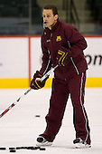 Mike Guentzel (Minnesota Assistant Coach) takes part in the Gophers' morning skate at the Xcel Energy Center in St. Paul, Minnesota, on Friday, October 12, 2007, during the Ice Breaker Invitational.