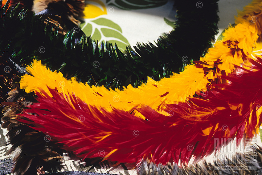Hawaiian feather lei displayed at a craft fair in Volcanoes National Park, Big Island of Hawaii