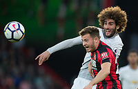 Marouane Fellaini of Man Utd and Ryan Fraser of AFC Bournemouth during the Premier League match between Bournemouth and Manchester United at the Goldsands Stadium, Bournemouth, England on 18 April 2018. Photo by Andy Rowland.