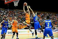 GRONINGEN - Basketbal, Nederland - Roemenie, WK kwalificatie 2019, Martiniplaza, 28-06-2018 fraaie score Shane Hammink