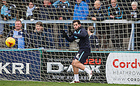 Sam Wood of Wycombe Wanderers takes over in goal during warm up during the Sky Bet League 2 match between Wycombe Wanderers and Luton Town at Adams Park, High Wycombe, England on 6 February 2016. Photo by Andy Rowland.