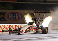 Sep 2, 2016; Clermont, IN, USA; NHRA top fuel driver Steve Torrence during qualifying for the US Nationals at Lucas Oil Raceway. Mandatory Credit: Mark J. Rebilas-USA TODAY Sports