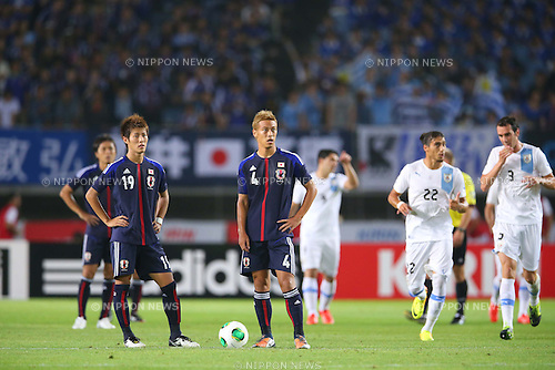 (L-R) Yoichiro Kakitani, Keisuke Honda (JPN), <br /> AUGUST 14, 2013 - Football / Soccer : <br /> KIRIN Challenge Cup 2013 match <br /> between Japan 2-4 Uruguay <br /> at Miyagi Stadium, Miyagi, Japan.<br />  (Photo by AFLO SPORT)