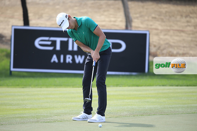 Joakim Lagergren (SWE) on the 13th during the 1st round of the Abu Dhabi HSBC Championship, Abu Dhabi Golf Club, Abu Dhabi,  United Arab Emirates. 19/01/2017<br /> Picture: Golffile | Fran Caffrey<br /> <br /> <br /> All photo usage must carry mandatory copyright credit (&copy; Golffile | Fran Caffrey)