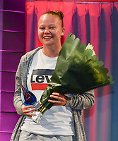20180603 – OOSTENDE , BELGIUM :  Laura Gorniak , winner of the trophee Top Goalscorer of the first division pictured during the 4th edition of the Sparkle award ceremony , Sunday 3 June 2018 , in Oostende . The Sparkle  is an award for the best female soccer player during the season 2017-2018 comparable to the Golden Shoe or Boot / Gouden Schoen / Soulier D'or for Men in Belgium . PHOTO SPORTPIX.BE / DIRK VUYLSTEKE