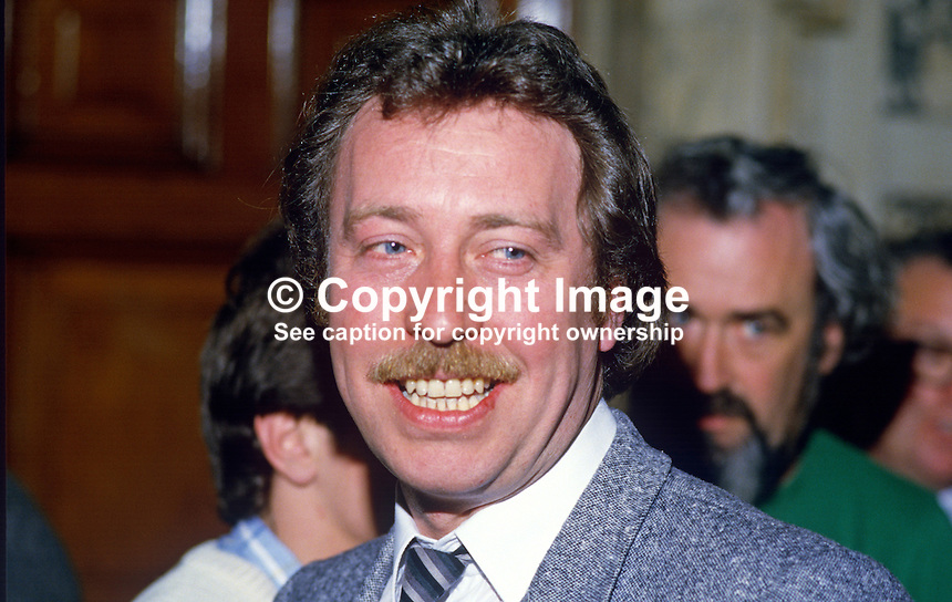 Sean McKnight, councillor, Provisional Sinn Fein, Belfast, N Ireland, 19850514SMK1..Copyright Image from Victor Patterson, 54 Dorchester Park, Belfast, UK, BT9 6RJ..Tel: +44 28 9066 1296.Mob: +44 7802 353836.Voicemail +44 20 8816 7153.Skype: victorpattersonbelfast.Email: victorpatterson@me.com.Email: victorpatterson@ireland.com (back-up)..IMPORTANT: If you wish to use this image or any other of my images please go to www.victorpatterson.com and click on the Terms & Conditions. Then contact me by email or phone with the reference number(s) of the image(s) concerned.