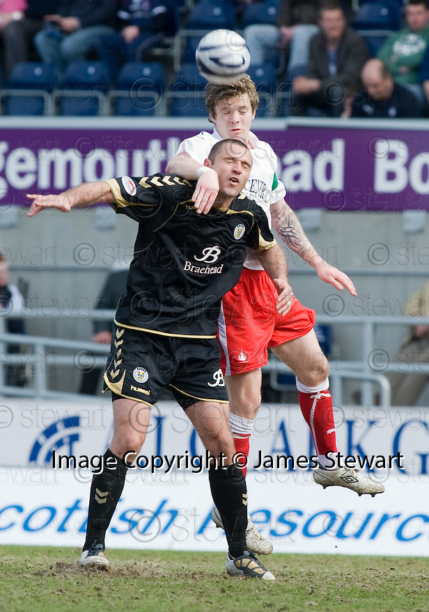 10/04/2010   Copyright  Pic : James Stewart.sct_jsp24_falkirk_v_st_mirren  .::  DARREN BARR GETS ABOVE MICHAEL HIGDON ::  .James Stewart Photography 19 Carronlea Drive, Falkirk. FK2 8DN      Vat Reg No. 607 6932 25.Telephone      : +44 (0)1324 570291 .Mobile              : +44 (0)7721 416997.E-mail  :  jim@jspa.co.uk.If you require further information then contact Jim Stewart on any of the numbers above.........
