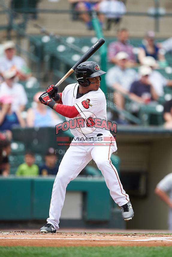Rochester Red Wings designated hitter Jorge Polanco (11) at bat during a game against the Columbus Clippers on June 16, 2016 at Frontier Field in Rochester, New York.  Rochester defeated Columbus 6-2.  (Mike Janes/Four Seam Images)