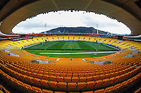 Signage and general views of Westpac Stadium before the Super Rugby final between the Hurricanes and Highlanders at Westpac Stadium, Wellington, New Zealand on Thursday, 2 July 2015. Photo: Dave Lintott / lintottphoto.co.nz