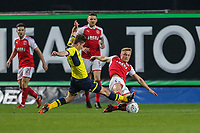 Kyle Dempsey of Fleetwood Town (right) tackles during the Sky Bet League 1 match between Oxford United and Fleetwood Town at the Kassam Stadium, Oxford, England on 10 April 2018. Photo by David Horn.