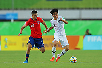 2nd November 2019; Kleber Andrade Stadium, Cariacica, Espirito Santo, Brazil; FIFA U-17 World Cup Brazil 2019, Chile versus Korea Republic; Cesar Perez of Chile and Kim Ryunseong of Korea Republic