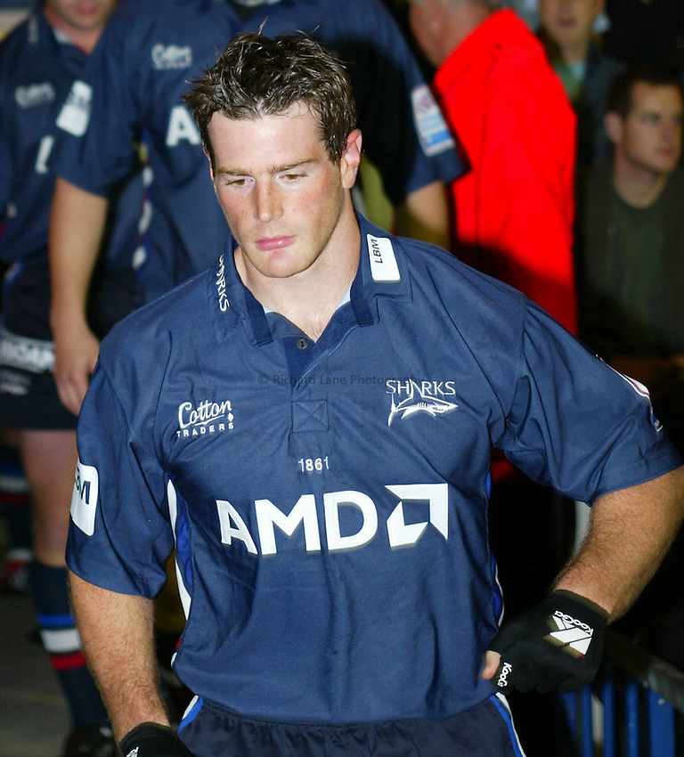 Photo. Aidan Ellis..Sale Sharks v Northampton..Zurich Premiership..12/09/2003..Andy Titterrell.