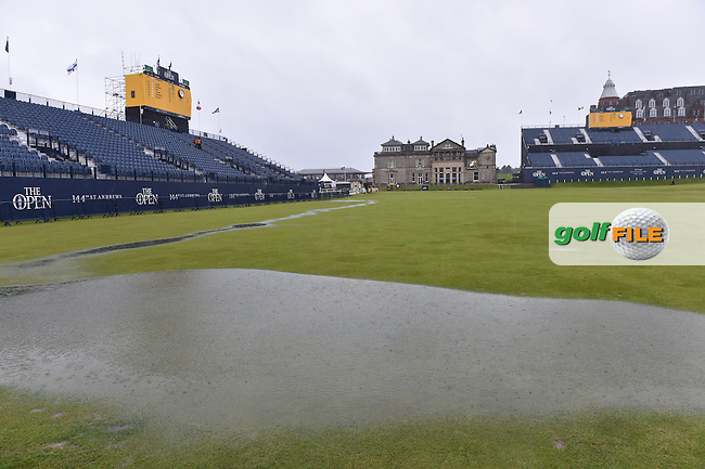 The 1st fairway and suspension of play due to high winds and waterlogged course at the start of Friday's Round 2 of the 144th Open Championship, St Andrews Old Course, St Andrews, Fife, Scotland. 17/07/2015.<br /> Picture Eoin Clarke, www.golffile.ie
