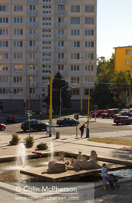 A typical suburban square in the city of Kosice, in the Slovak Republic. The city, which lies in eastern Slovakia is the country's second largest after Bratislava and has been announced as European Capital of Culture in 2013, along with Marseille, France. Kosice was the seat of the Kosice Region, home to the Slovak Constitutional Court, three universities and many museums, galleries and theaters as well as an important industrial center.