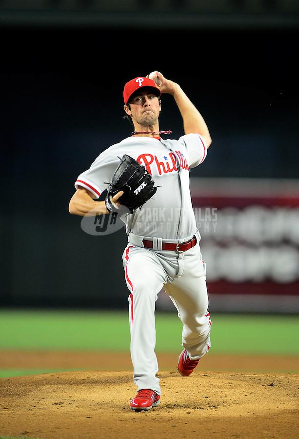 Apr. 25, 2012; Phoenix, AZ, USA; Philadelphia Phillies pitcher Cole Hamels throws in the first inning against the Arizona Diamondbacks at Chase Field. Mandatory Credit: Mark J. Rebilas-