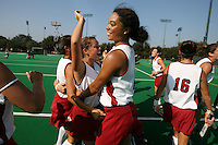 6 November 2007: Stanford Cardinal Rachel Mozenter (7), and Rachel Bush (21) during Stanford's 1-0 win against the Lock Haven Lady Eagles in an NCAA play-in game to advance to the NCAA tournament at the Varsity Field Hockey Turf in Stanford, CA.