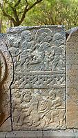 Pictures & images of the North Gate Hittite sculpture stele depicting Hittite Gods. 8th century BC. Karatepe Aslantas Open-Air Museum (Karatepe-Aslantaş Açık Hava Müzesi), Osmaniye Province, Turkey.