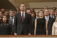 "10-03-2016 Madrid Queen Letizia and King Felipe during the ë'In Memoriam"" tribute for the victims of terrorism in Spain at the national music auditorium in Madrid. Photo Credit: PPE/face to face/AdMedia"