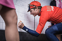 Luka Pibernik (SLO/Bahrain Merida) pre race sign in. <br /> <br /> 73th Dwars Door Vlaanderen (1.UWT)<br /> 1day race: Roeselare &rsaquo; Waregem BEL (180km)