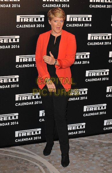 Clare Balding attends the 2016 Pirelli Calendar news conference &amp; photocall, Grosvenor House Hotel, Park Lane, London, UK, on Monday 30 November 2015.<br /> CAP/CAN<br /> &copy;CAN/Capital Pictures