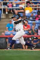 Trenton Thunder shortstop Ali Castillo (13) at bat during a game against the Binghamton Mets on August 8, 2015 at NYSEG Stadium in Binghamton, New York.  Trenton defeated Binghamton 4-2.  (Mike Janes/Four Seam Images)