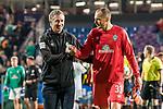 12.10.2018, Stadion an der Bremen Bruecke, Osnabrueck, GER, FSP, 1.FBL, VfL Osnabrueck vs Werder Bremen<br /> <br /> DFL REGULATIONS PROHIBIT ANY USE OF PHOTOGRAPHS AS IMAGE SEQUENCES AND/OR QUASI-VIDEO.<br /> <br /> im Bild / picture shows<br /> Frank Baumann (Geschäftsführer Fußball Werder Bremen) beglückwünscht / bedankt sich bei Jaroslav Drobny (Werder Bremen #33) nach Spielende, <br /> <br /> Foto © nordphoto / Ewert