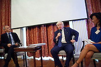 OCTOBER 15, 2015 -TOKYO, JAPAN: Mayor of London Boris Johnson MP (centre stage) at an event at the British Embassy in Tokyo, to encourage collaboration between London and Japan in financial technology. With Johnson are, left, Ambassador Tim Hitchens, and right, Tech UK Chair Eileen Burbidge (Photo / Ko Sasaki)