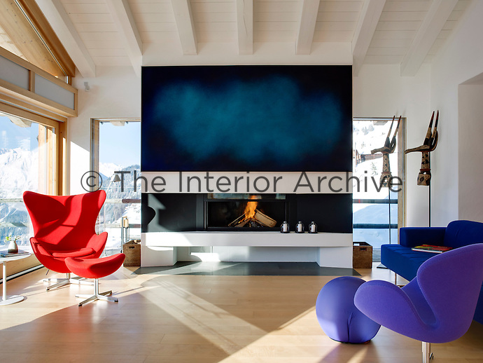 The living area is an open plan, airy space where the Urvois family enjoy entertaining when they're not out skiing