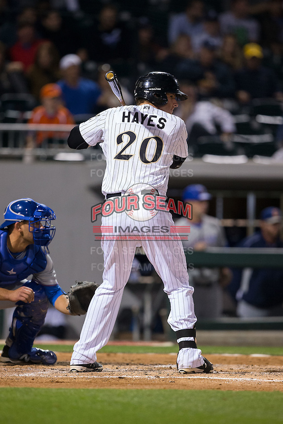 Danny Hayes (20) of the Charlotte Knights at bat against the Durham Bulls at BB&T BallPark on April 14, 2016 in Charlotte, North Carolina.  The Bulls defeated the Knights 2-0.  (Brian Westerholt/Four Seam Images)