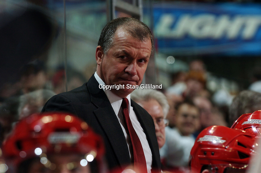 Carolina Hurricanes' assistant coach Kevin McCarthy looks down the bench during a game with the Boston Bruins at the RBC Center in Raleigh, NC Wednesday, March 1, 2006. The Hurricanes won 4-3...